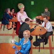 Kiss Márta: Ma mindenki kap egy pohár fényt, 2012. 67x65 cm, olaj, vászon
