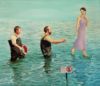 Kiss Márta: Walking on the water is forbidden! , 2011. 60x70 cm, oil on canvas
